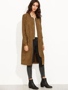 Shop Coffee Suede Zip Up Longline Bomber Jacket online. SheIn offers Coffee Suede Zip Up Longline Bomber Jacket & more to fit your fashionable needs.