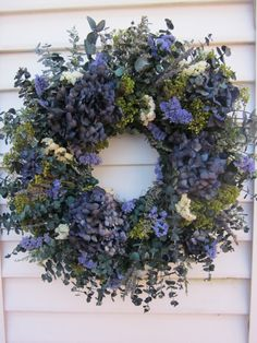 Dried Flower Wreath Blue Hydrangea and Blue and by NotJustWeeds, $55.00
