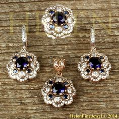 Hurrem Sultan Set Flower Form Sapphire Color Round Shape Ottoman Jewelry 925SS