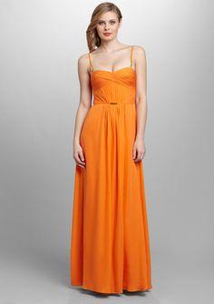 HOAGLUND NEW YORK Spaghetti Strap Gown with Ruching