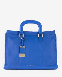 Leather stab stitch bag - Bright Blue | Bags | Ted Baker