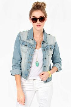 White Crow Little Wing Embroidered Jean Jacket