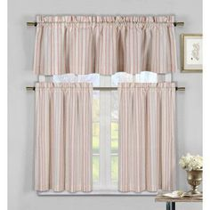 Sage Green, Taupe and Beige Three Piece Cotton Rich Kitchen/Cafe Tier Window Curtain Set: Striped pattern, One Valance, two Tiers Tier Curtains, Rod Pocket Curtains, Window Curtains, Bedroom Curtains, Hanging Curtains, Kitchen Valances, Kitchen Curtain Sets, Cafe Curtains Kitchen, Farmhouse Curtains