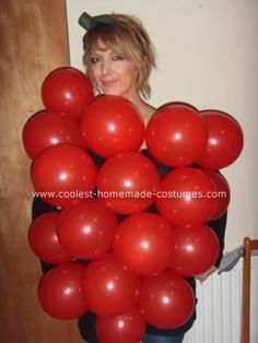 Homemde Rasberry Costume: The raspberry costume went down an absolute treat! It was easy and cheap to create, I bought 30 red balloons and attached them to my top carefully with Red Balloon, Balloons, Fruit Costumes, Fruit Party, Homemade Costumes, Raspberry, Berries, Treats, Easy