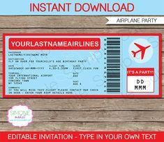 Airplane Ticket Invitation Template | Airplane Invitations | Airplane Birthday party