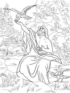 Elijah Fed by Ravens coloring page from Prophet Elijah category. Select from 20946 printable crafts of cartoons, nature, animals, Bible and many more.