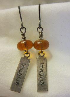 Amber Imagine Earrings by haikumaiden on Etsy, $16.00