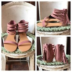 L O V E 💖 these blush suede strappy sandals w back zipper and side tassel 🙌🏻. Summer staple !!