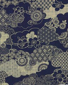 Clouds of Traditional Designs - Homespun Indigo Japanese Traditional Fabric - By the Half Yard Japanese Textiles, Japanese Prints, Japanese Fabric, Japanese Design, Chinese Patterns, Japanese Patterns, Panda Design, Design Design, Surface Pattern Design