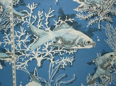 Fish fabric blue coral ocean night from Brick House Fabric: Novelty Fabric