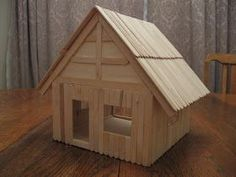Almost Unschoolers: Basswood and Popsicle Stick Doll House (Man of the House Sty. - Almost Unschoolers: Basswood and Popsicle Stick Doll House (Man of the House Style) The Effective P - Craft Stick Projects, Craft Stick Crafts, Diy Crafts For Kids, Home Crafts, Craft Sticks, Plate Crafts, Resin Crafts, Yarn Crafts, Popsicle Stick Crafts House
