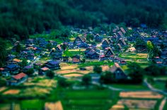 Tilt-shifted historic village of Shirakawa-go, a UNESCO World Heritage Site.