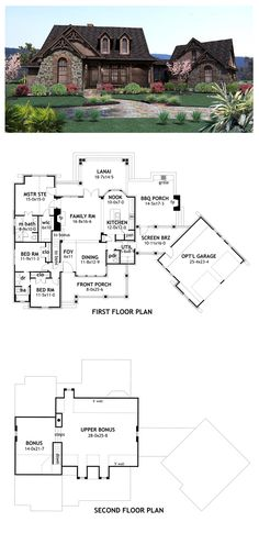 Although small w/upstairs area, we could make this work. Add bigger garage. Remove bathroom for larger Gunroom &bigger master bat/WIC area. Upstairs for inlaw ste & small guest room.Craftsman House Plan 65866 | Total living area: 1698 sq ft, 3 bedrooms & 2.5 bathrooms. #houseplan #craftsman