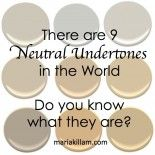 There are 9 Neutral Undertones in the World (see them here) Maria Killam True Colour Expert Decorator Best Paint Colors, Paint Colours, Beige Paint, Interior Paint, Interior Design, Interior Colors, Color Studies, Painting Tips, White Paints