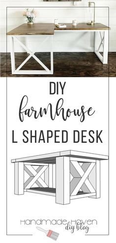 Learn how to make this L Shaped Double Desk - feminine farmhouse desk that you will just love. Woodworking plans and tutorial available too #woodworkingproject #diyfurniture #farmhousestyle #farmhousedecor #woodworking #diyhomedecor