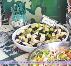 "Fruit Salad for an Army Themed Party -Camo Fruit Salad for an Army Themed Party - Photo 12 of Hunting / Celebration of Life Memorial ""Celebration of Jack Grant"" Army Birthday Parties, Army's Birthday, Hunting Birthday, Hunting Party, Birthday Ideas, Baseball Birthday, Baseball Party, Birthday Cakes, Camouflage Party"
