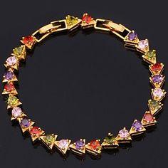 InStyle luksus aaa + zirconia kubik armbånd armbånd 18k guld platin forgyldt smykker af høj kvalitet 17cm 19cm – DKK kr. 68