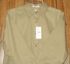 NWT Mens Khaki BILL BLASS Premium Long Sleeve Oxford Shirt Size Medium New
