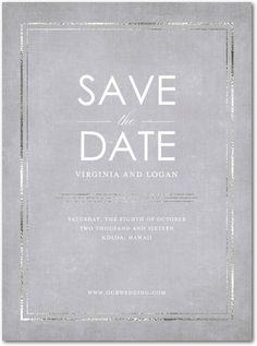 Subtle Shine - Signature White Save the Date Cards in White or Black | Magnolia Press