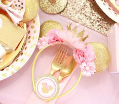The floral Minnie headbands at this pink and gold Minnie Mouse Birthday Party!! See more party ideas and share yours at CatchMyParty.com #minnie #partyfavor