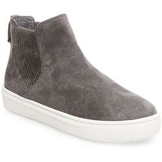 Steven By Steve Madden Lazio Microsuede High-Top Slip-On Sneakers ($69) ❤ liked on Polyvore featuring shoes, sneakers, grey, grey slip on sneakers, grey slip on shoes, steven by steve madden shoes, high top shoes and slip-on sneakers