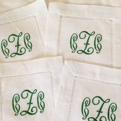 Monogram Hemstitch Cocktail Napkins / Monogram Gift - Set of 4 by SouthernLinen on Etsy https://www.etsy.com/listing/180759050/monogram-hemstitch-cocktail-napkins