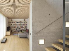 Dietrich Untertrifaller - House B_concrete_wood planks_stairways Tiny House Movement, Minimalist House Design, Minimalist Home, Wood Interiors, Office Interiors, Sweden House, Timber Ceiling, Flooring For Stairs, Modern Mountain Home