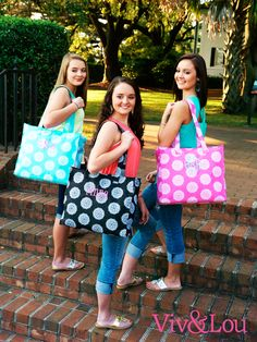 Viv & Lou Maddie Collection Totes #Monogram #Totes #FreePersonalization #Graduation #Gifts