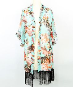 This Aqua Floral Fringe Open Cardigan by Steve Madden is perfect! #zulilyfinds
