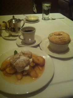 """""""We Live to Eat"""" Restaurant Week 2013 in New Orleans. Commander's Palace desserts...yummy!!! Bread pudding soufflé and fresh Louisiana peach tart. My all time fav desserts."""