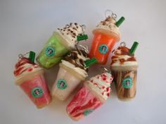 Starbucks Frappuccino Charms/Stitch Markers - POTTERY, CERAMICS, POLYMER CLAY (Craftster) - These are super cool and adorable, and delicious looking.