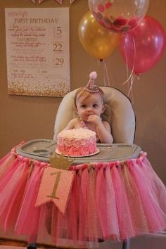 pink and gold high chair tutu, pink and gold first birthday: by janell
