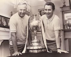 The two great men - Brian Clough and Peter Taylor - with their first Football League trophy at Derby County