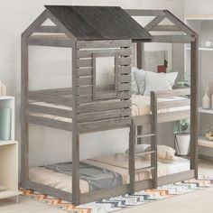 Isa Belle Wolfsburg Twin over Twin Bunk Bed Isabelle & Max Bed Frame Color: Antique Gray , Low Bunk Beds, Toddler Bunk Beds, Kid Beds, Bunk Beds For Toddlers, Unique Bunk Beds, Kids Bedroom, Bedroom Decor, Childrens Bedroom, Twin Bedroom Ideas