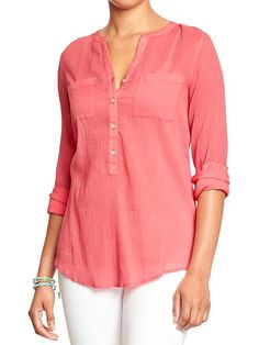 Women's Long-Sleeved Gauze Shirts Product Image