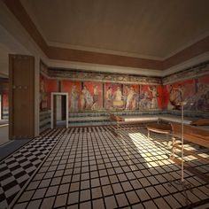 Digital reconstruction of the triclinium at The Villa of the Mysteries in Pompeii, Italy by James Stanton-Abbott