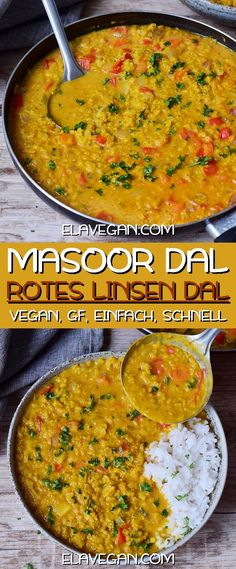 Red Lentil Dahl (Vegan Curry) - A creamy Red Lentil Dahl which is comforting, hearty, flavorful, and delicious. The recipe is vegan - Vegan Dinner Recipes, Vegan Dinners, Veggie Recipes, Indian Food Recipes, Vegetarian Recipes, Healthy Recipes, Easy Red Lentil Recipes, Curry Recipes, Soup Recipes