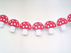 Red Mushroom Smurf Card Banner Bunting Long Woodland Forest Snow White for sale online Woodland Forest, Bunting, Banners, Snow White, Stuffed Mushrooms, Birthday, Red, Cards, Ebay