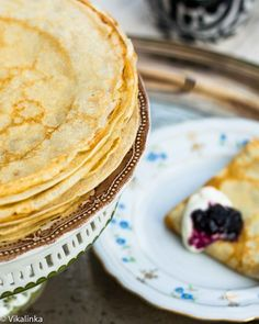 """Russian Crepes """"Blini"""", an easy no fail recipe for thin pancakes that are perfect with sweet or savoury filling. ~ uses kefir for a tangier flavor Kefir Recipes, Cooking Recipes, Bread Recipes, Cooking Tips, Cake Recipes, Churros, Brunch Recipes, Breakfast Recipes, Russian Recipes"""