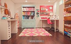 A beautifully organized sewing room.