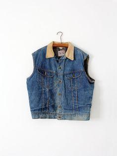 vintage 70s Lee Storm Rider vest  denim biker vest by IronCharlie