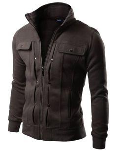 Amazon.com: Doublju Mens Casual Highneck Zipup Jacket: Clothing
