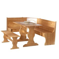 """Three-piece Brazilian pine dining set with a table and two benches.    Product: Table, nook bench and standard bench Construction Material: Pine wood Color: Light honey Features: Nook bench can be interchanged to fit in a right or left-facing corner Dimensions: 29.5"""" H x 43"""" W x 27"""" D (table)"""