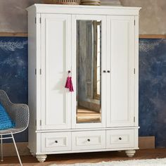 Chelsea Armoire, Simply White at Pottery Barn Teen - Dressers . Teen Dresser, Wide Dresser, Dresser Drawers, Bedroom Furniture, Bedroom Decor, Teen Bedroom, Bedroom Inspo, White Furniture, Furniture Nyc