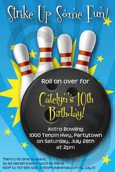 BOWLING INVITATION - Printable - Birthday Party - Customizable - Banners, Cupcake Toppers & more also available. $10.00, via Etsy.
