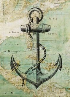 Vintage Nautical Map with Anchor. We be sailin' in some mystical seas. Are ye ready? Weigh the anchor me hearties! Nautique Vintage, Etiquette Vintage, Nautical Art, Nautical Tattoos, Vintage Nautical Decor, Nautical Quilt, Nautical Interior, Nautical Design, Nautical Anchor