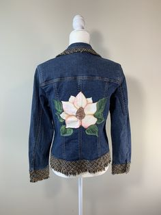 Magnolia Denim Jacket, Women's Size 12, Coldwater Creek, Hand Painted Denim by GulfLifebyNichole on Etsy