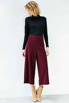 Silence + Noise Modern Crepe Culotte Pant - Urban Outfitters