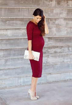 Ready for the holidays in our Burgundy Lace Maternity Dress! #maternitystyle #fashion