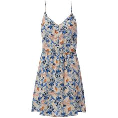American Vintage Strap Dress - Royal Blue Palm (175 AUD) ❤ liked on Polyvore featuring dresses, palm dress, strap dress, pineapple print dress, strappy dress and loose fit dress